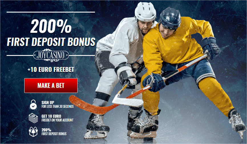 JoyCasino Sports welcome bonus: 10 EURO freebet and up to 200 perncets on first deposit