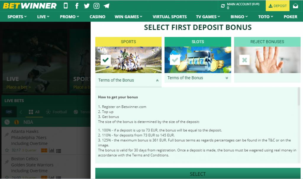 BetWinner on deposit bonus up to 361 EUR and 125 percents