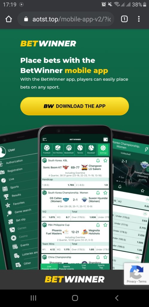 Betwinner official mobile application download page