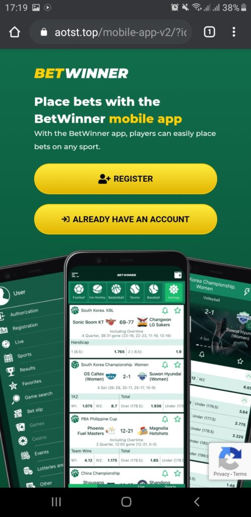 Betwinner official mobile application download page Step 2