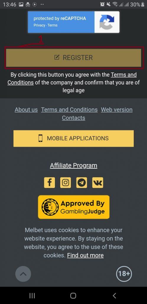 MELBET mobile applications button