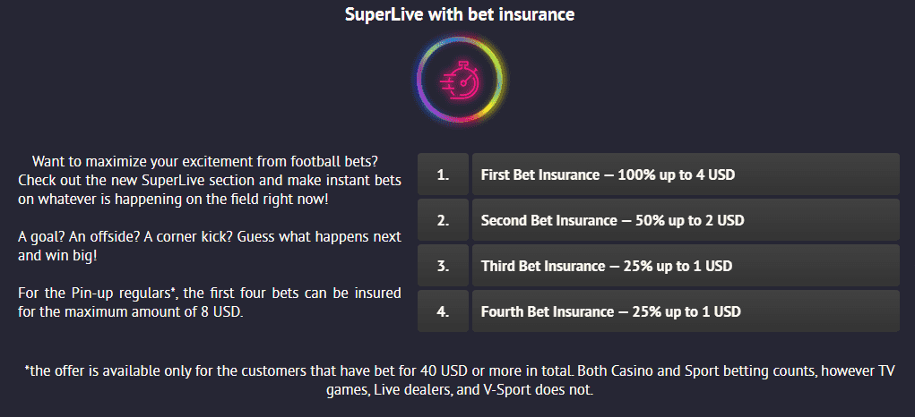 Bet incurance at PinUp Bet