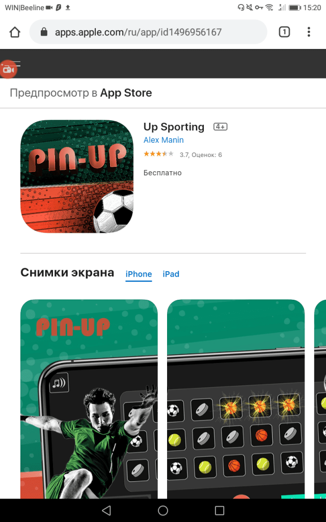 Pin-Up.Bet iPhone app in AppStore