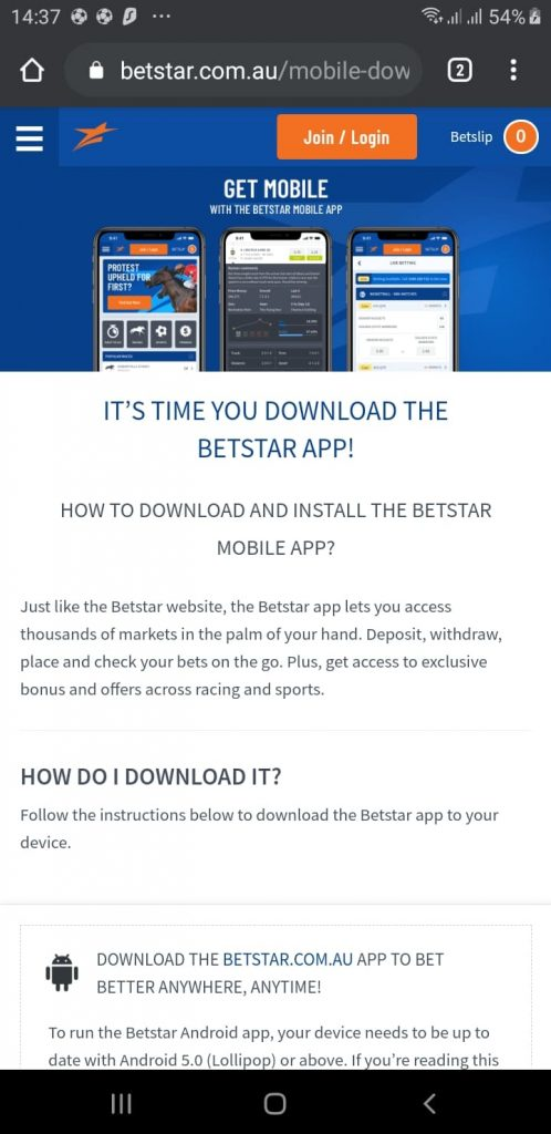 Betstar App Download Page