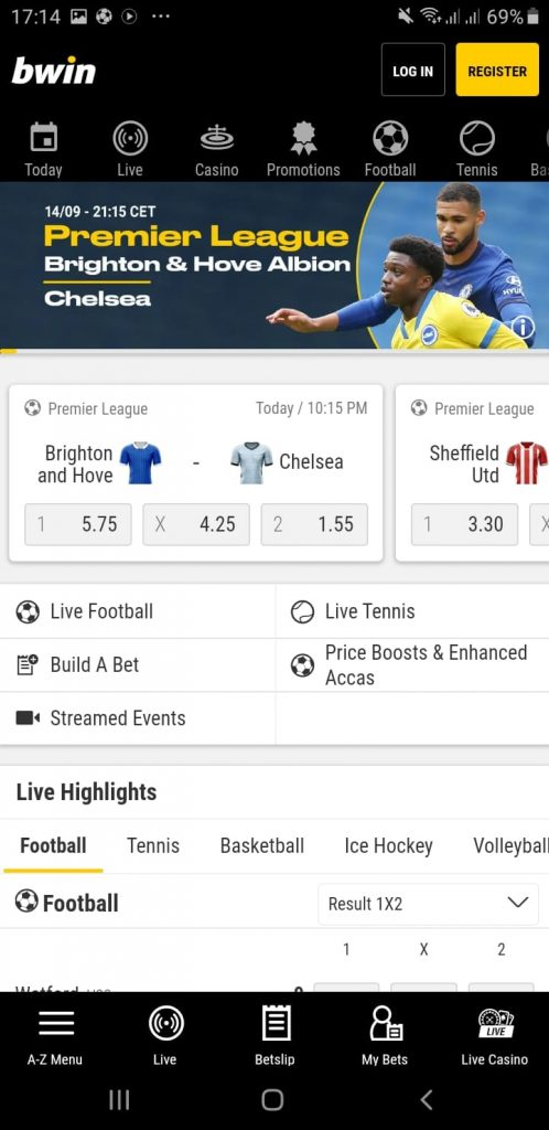 Bwin Android Application