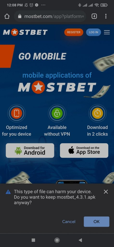 Notification Do you want to keep Mostbet.apk